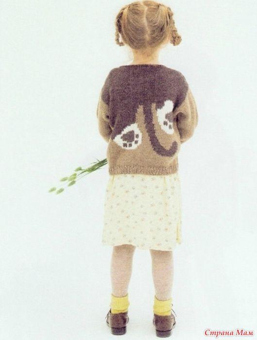 Пуловер с кошкой (интарсия)