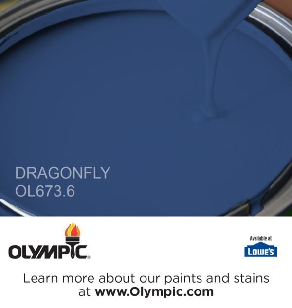 I want to paint the front door this color. DRAGONFLY OL673.6 is a part of the blues collection by Olympic® Paint.