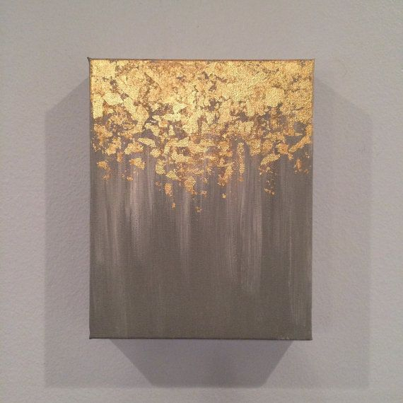SALE Gold leaf painting, abstract gold leaf painting, 8x10 wall art, heavy duty canvas painting