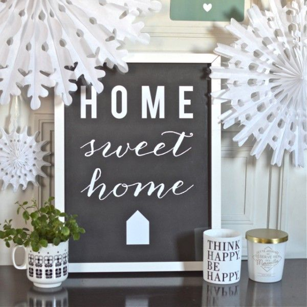 Affiche home sweet home ardoise cinqmai deco for Deco home sweet home