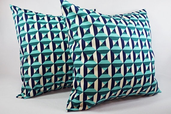 Navy And Teal Throw Pillows: Two Navy And Teal Throw Pillow Covers