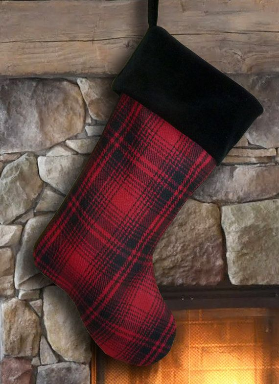 Red & Black Tartan Plaid Christmas Stocking by MeredithRosePetal, $29.00 #ChappellChristmas2015