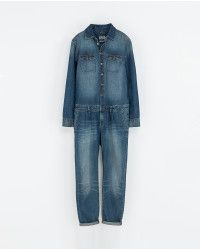 Zara Blue Denim Jumpsuit - Lyst