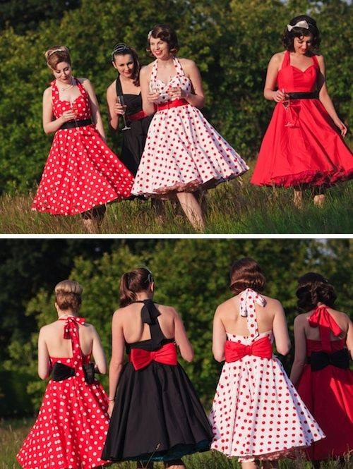 Bridal Shower retro theme dresses for bride and bridal party