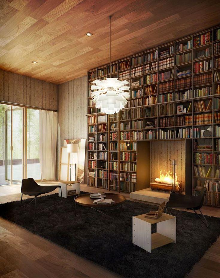 【高さと低さのコントラスト】暖炉と巨大な作り付け本棚と毛の長いラグ