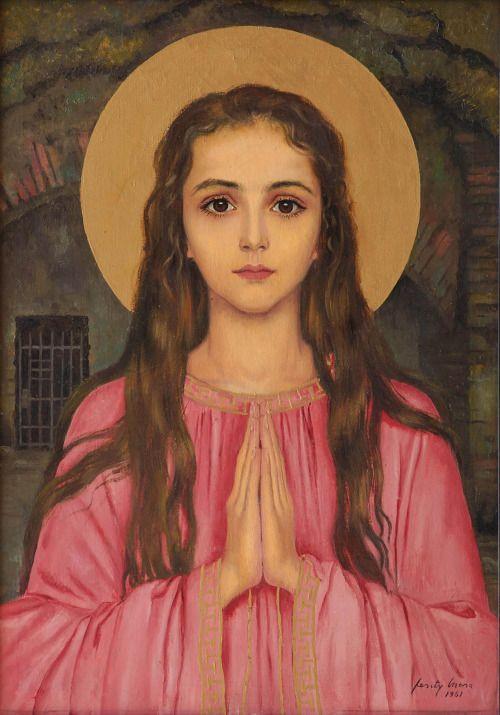 Saint Philomena, a painting by the Hungarian artist Feszty Masa, (1961),