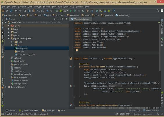 Creating a new OpenCV project in Android Studio