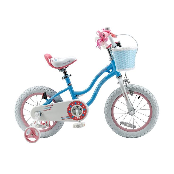 Stargirl Girl's Bike with Training Wheels and basket, 14 in. Wheels in Blue, Blues