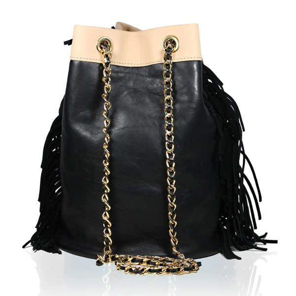 Black and Cowhide Shoulder Bag with Fringes. Stella Rittwagen Collection. 195€. www.dwappo.com