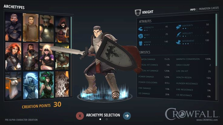 Crowfall game interface, choosing a Knight. see more on https://crowfall.com/  #Crowfall #gaming #MMO #PC #MMORPG #RPG #screenshot #interface #UI #PvP #game #games #multiplayer #online