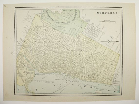 Antique Map Montreal Halifax and Dartmouth Canada 1892 Vintage Halifax Map Original Old Color City Street Map of Montreal Halifax Canada by OldMapsandPrints