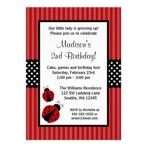 Red and Black Ladybug Striped Dots Birthday Party ...