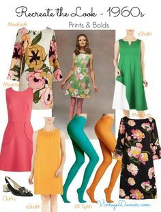 1960s clothing. nothing says the sixties like bright color dresses and matching tights. VintageDancer.com/1960s