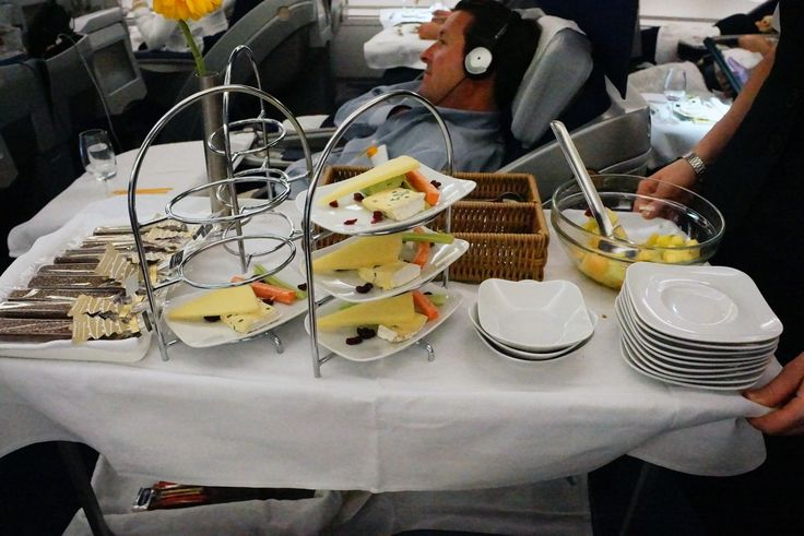 Lufthansa Airbus A380 Business Class Cheese Service