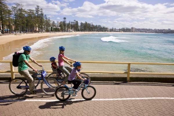 Riding bikes on Manly Beach front