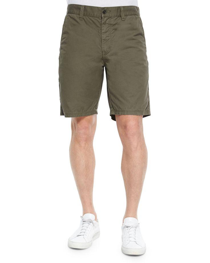 Triple-Needle Cotton Shorts, Olive