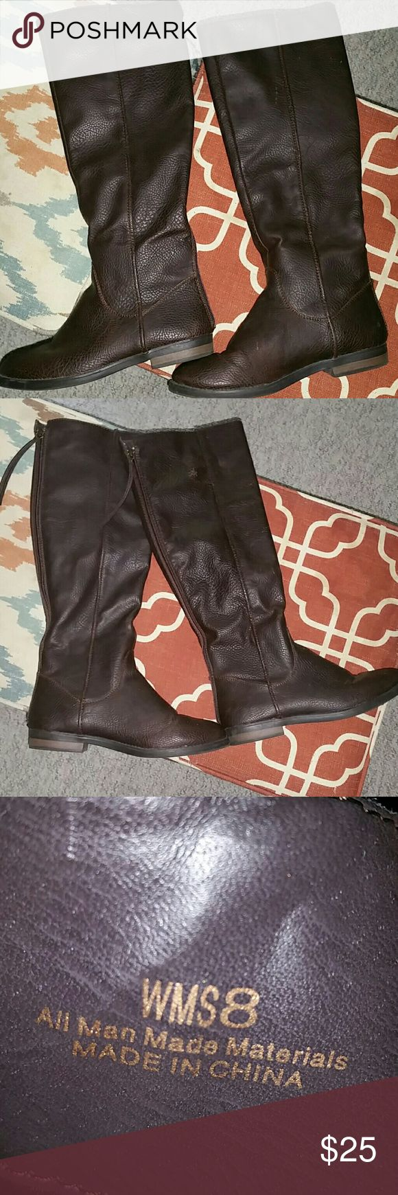 Brown riding boots final sale brown riding boot style with zipper enclosure. Super comfy and easy to care for.used condition Shoes
