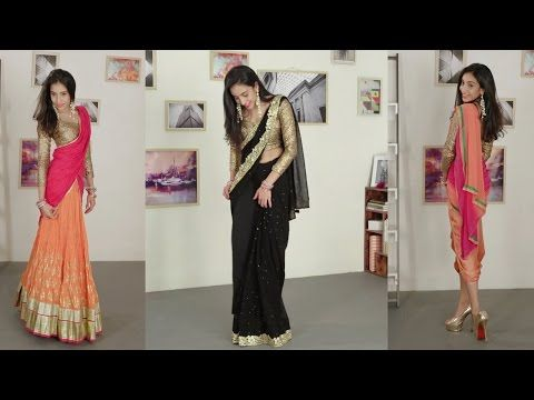 How To Wear A Saree | Without All The Draping - YouTube