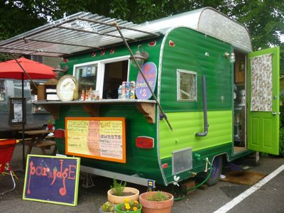 vintage camper turned food stand