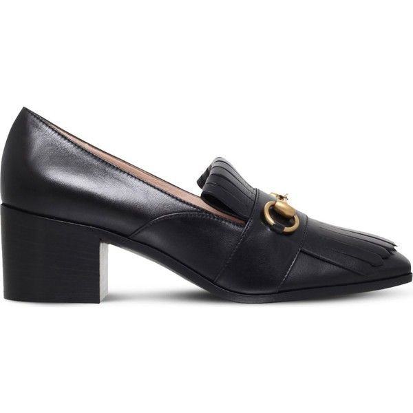 Gucci Polly fringed leather loafers (795 AUD) ❤ liked on Polyvore featuring shoes, loafers, black, black horsebit loafers, leather loafers, horsebit loafers, black loafers and chunky loafers