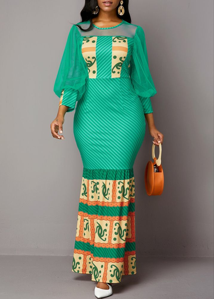 Tribal Print Mesh Panel Lantern Sleeve Maxi Dress | Rotita.com – USD $36.09