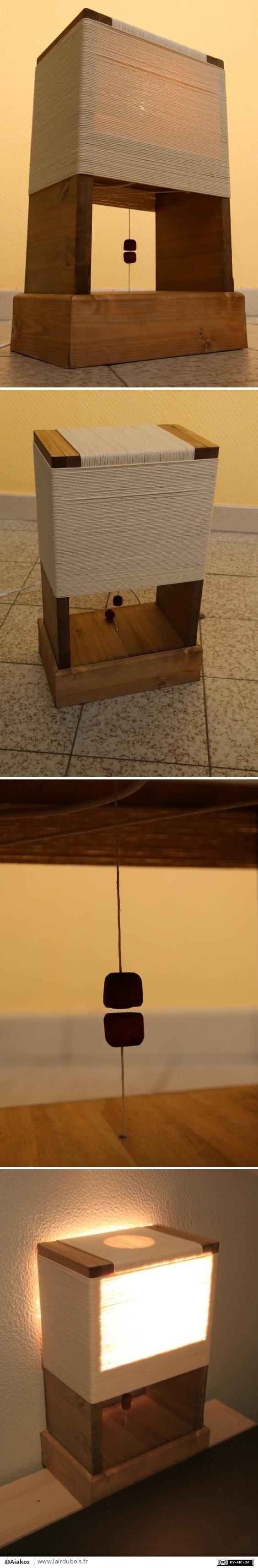 Bon, sur la structure de la lampe en elle-même, peut être pas grand chose d'original pour des grands amateurs d'e-passionés par le travail du bois. Quelques traits de scie, un assemblage avec tourillon et un peu de corde (100m tout de même).    La ou réside l'originalité de la lampe c'est pour son allumage, car elle s'allume grâce à la force électromagnétique...enfin c'est ce que je veux faire croire en tout cas ! Ce qui est vrai c'est que c'est l'attirance des deux aimants mis proches l'un…