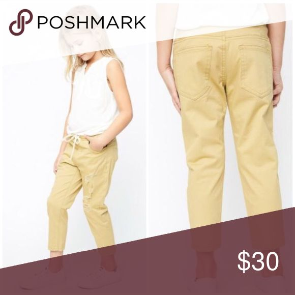 Distressed Khaki Jogger Pants for Girl Boutique distressed khaki Jogger pants. Bottoms Casual