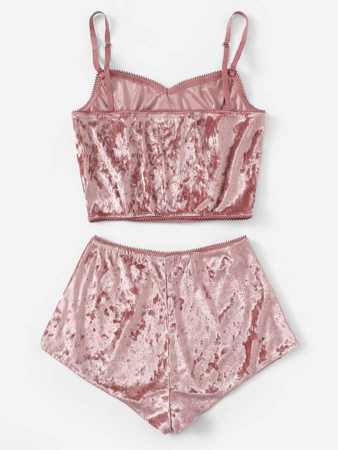 Shein Bow Detail Velvet Cami Pajama Set #Sponsored , #AD