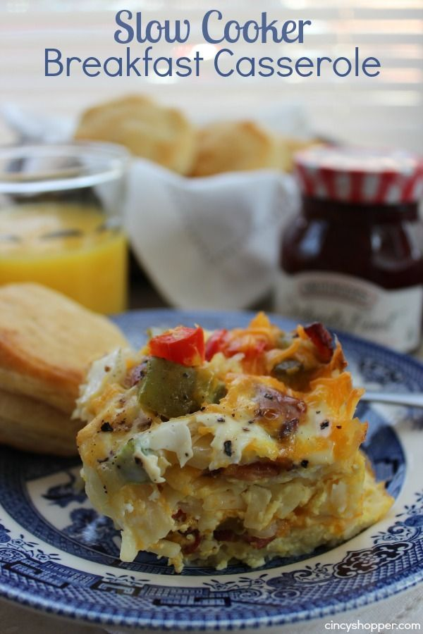 Slow Cooker Breakfast Casserole. Perfect breakfast! Use Bacon, Sausage or just Veggies.