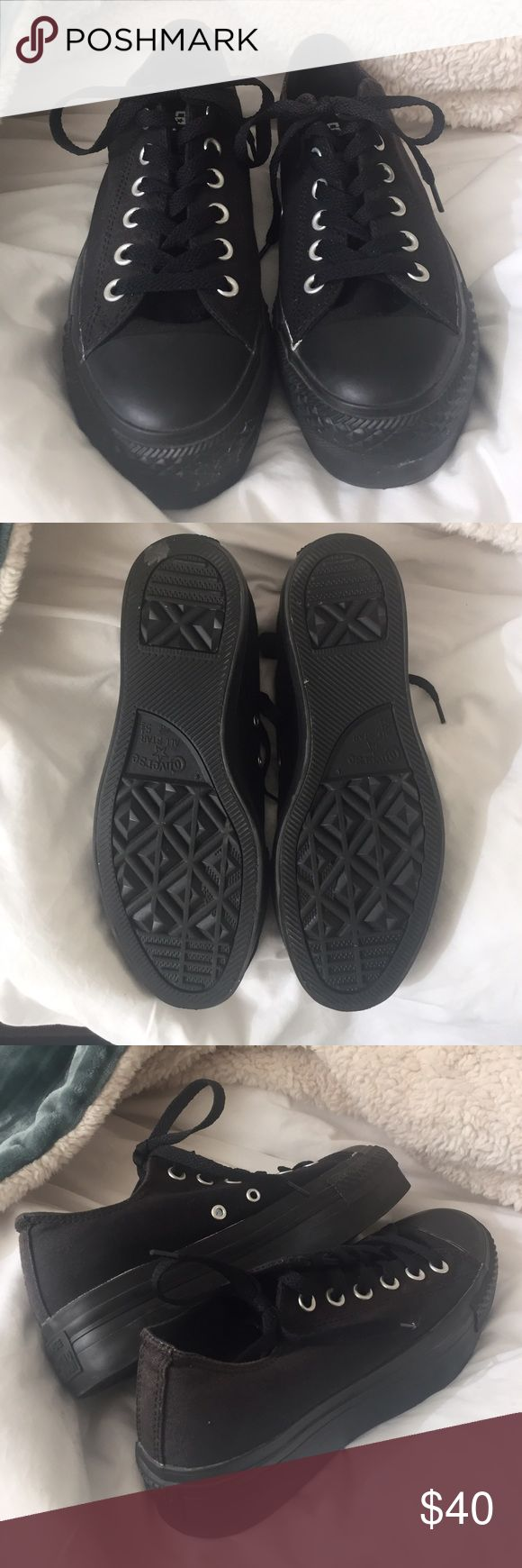 ALL BLACK PLATFORM CONVERSE A new never worn pair of all black platform converse. In new condition and matches with just about anything! Converse Shoes Sneakers