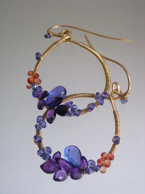 Oh to be Queen...Tanzanite Amethyst Orange Sapphire Laden Signature and Original Gold Filled Teardrop Earrings