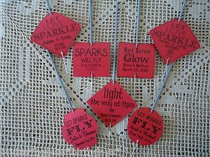 Kraft-Red-Wedding-Favour-Gift-Tags-Sparklers-Bomboniere-PERSONALISED-Vintage