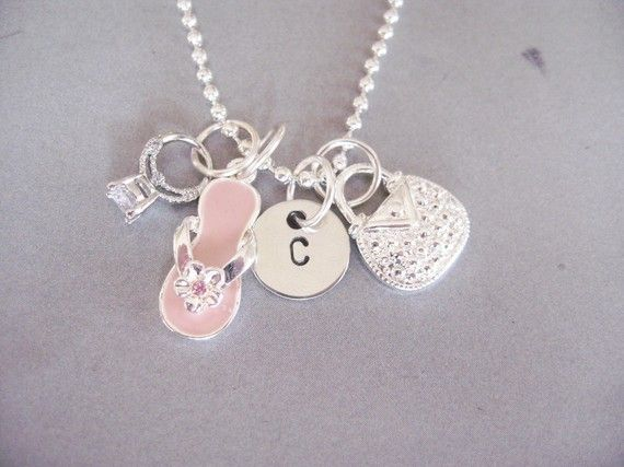Personalized Shoes, Purses, Jewelry, Darling Diva charm necklace. From the Belle Bambine Girls Line.  This sparkling necklace will make any girl feel FAB-UUU-Louuus!!