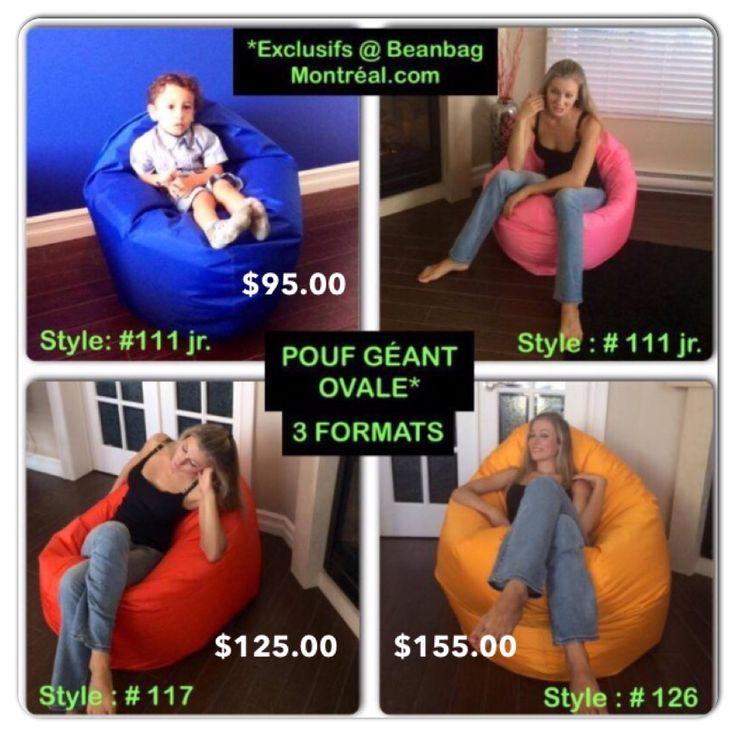 Beanbag à super prix❗️ directement du fabriquant...   Lavable et déhoussable, 35 modèles en 23 couleurs en STOCK❗️Ouvert 7 jours Vaste salle de montre! Venez les essayer....   1-888-527-0777 Magazin/entrepôt: 4609 iberville, Mtl. Qc.