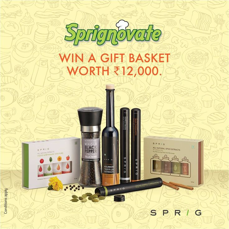 Buy one of every product from the Sprig catalogue for only  Rs 12,000. Or win the entire set by giving us a recipe. #Sprig #catalogue https://goo.gl/ak0Ej8 #Sprignovate #recipe #contest Send in your entries: sprig@synthite.com
