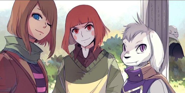 Frisk, Chara, Asriel & Sans