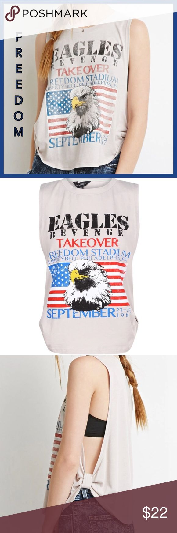 🇺🇸 Eagles Revenge Open Workout Tee🇺🇸 This Tee is so soft and comfy and light weight. With the Eagles winning the Super Bowl this year it is definitely a nice conversation or novelty Tee. A nice addition to your workout attire as well. Can be worn over a bandeau or swimsuit top. I really like how the bottom sides of this shirt come together. 95% Cotton to 5%Spandex. Has a wicking feel to it. Runs slightly small. I normally wear medium to large but the XL fits me perfect. Size up is best…