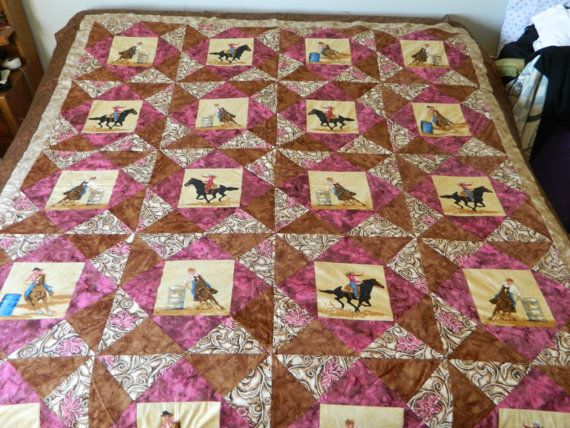 Custom Cowgirl Rodeo Events Quilt Western Print by Western Quilts, western home decor, barrel racing