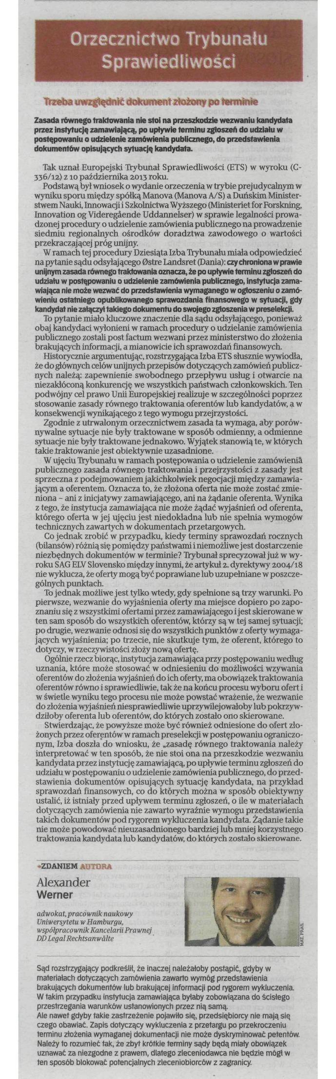 Kancelaria DD Legal z Hamburga, #Rzeczpospolita 04.02.2014 #DDLegal #przetargi #UE #prawo #orzeczenie
