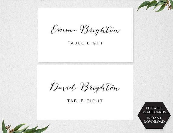 PRINTABLE PLACE CARDS INSTANT DOWNLOAD. This item is available for you to instantly download after purchasing. Print your own PLACE CARDS, perfect for a party, wedding or bridal shower! This item is an ideal do-it-yourself PLACE CARD tent style to add a special touch to your celebration! You can print your own place cards at home or at your local print shop. Simply change the text, print, trim the card, fold and place on a table at your next celebration!  ...