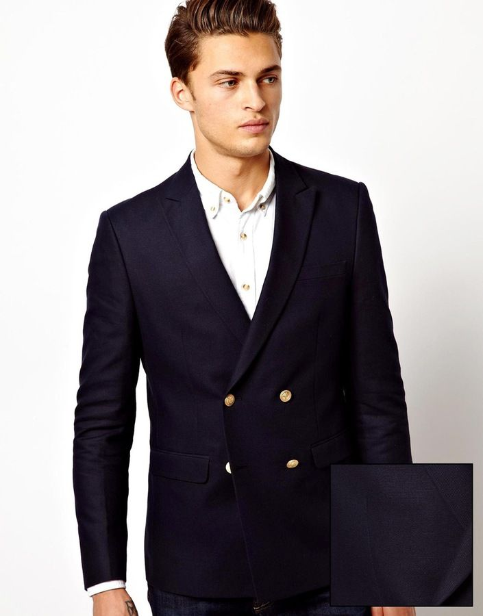 $117, Navy Double Breasted Blazer: Asos Slim Fit Double Breasted Blazer With Gold Buttons. Sold by Asos. Click for more info: https://lookastic.com/men/shop_items/1438/redirect