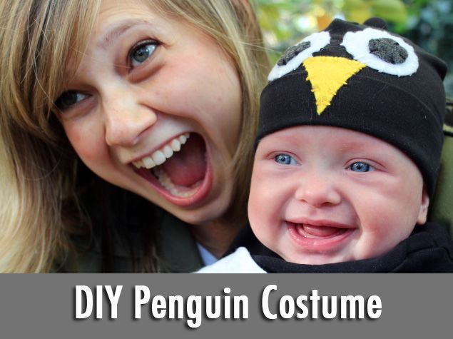 How-To: Baby Penguin Costume...I'll just size it up for a college-sized baby penguin! :)