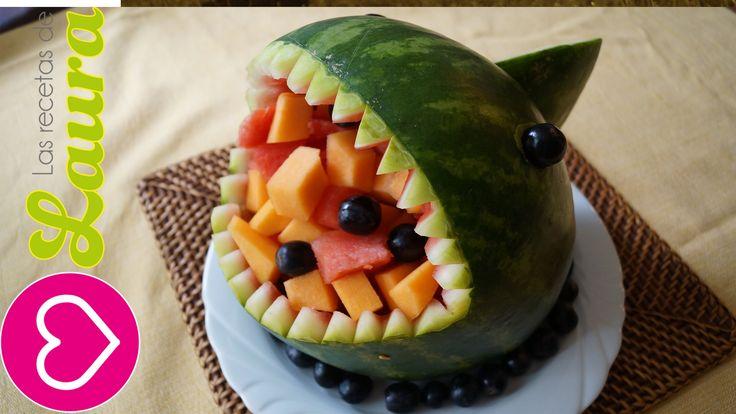 Como hacer un TIBURÓN de SANDIA - How to make a watermelon SHARK