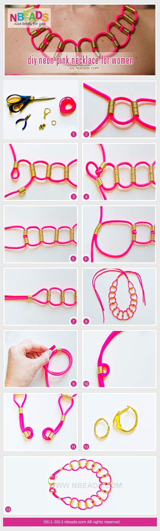 Summary: Easy for you to make a neon pink necklace. These are bright pink necklaces for women. You need to know how to make loops with springs beads secured. A marvellous piece incorporates with your strapless dress, doesn't it? How about trying on it to