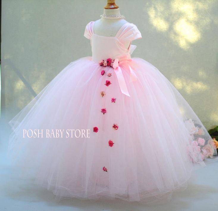 Elegant Tulle Satin Pink Flower Girls Dress
