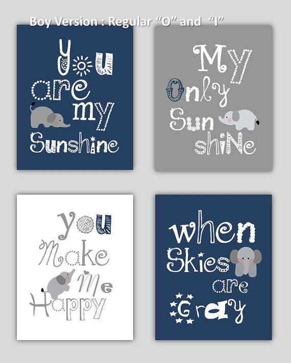 Elephant Art // You are my sunshine Navy Blue and by LittlePergola