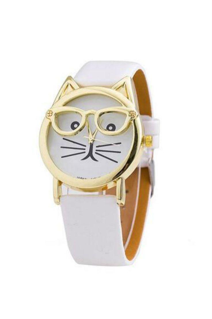 Cute Cat White Leather Strap Wrist Watch