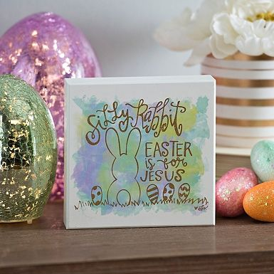 Silly Rabbit Watercolor Word Block