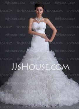 Mermaid Sweetheart Court Train Organza Satin Wedding Dresses With Ruffle Beadwork (002017394)
