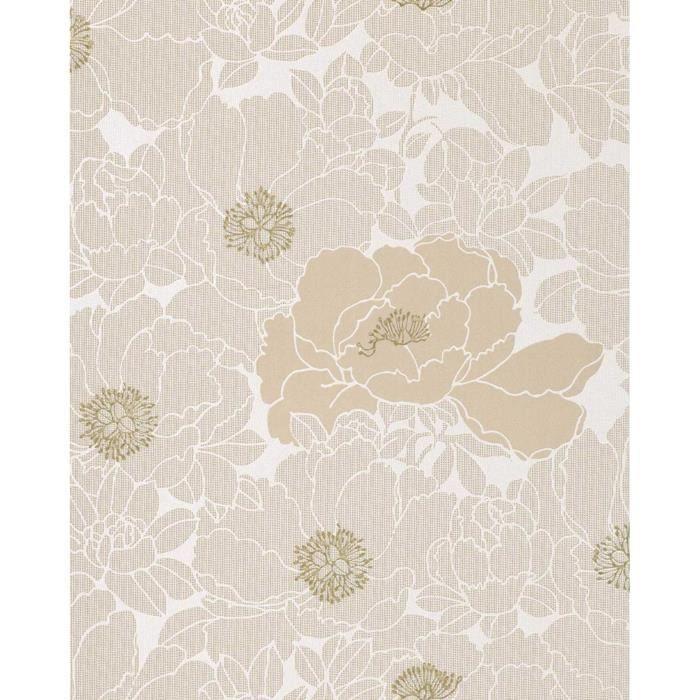 PAPIER PEINT Papier peint en relief design motif floral EDEM 025-23 beige brun cacao bronze